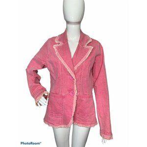 Z Cavaricci L Pink Denim Blazer Jacket Raw Hems